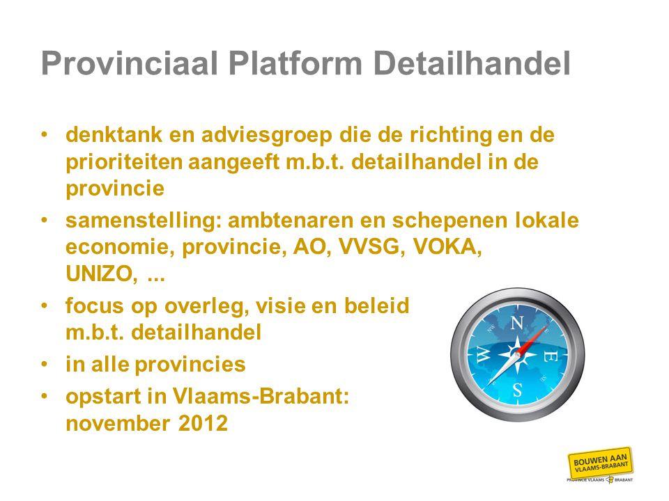 Provinciaal Platform Detailhandel denktank en adviesgroep die de richting en de prioriteiten aangeeft m.b.t.