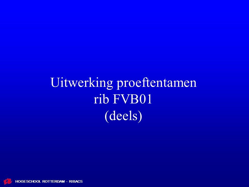 HOGESCHOOL ROTTERDAM - RIBACS Uitwerking proeftentamen rib FVB01 (deels)
