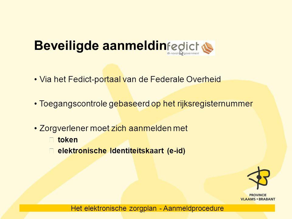 Het elektronische zorgplan - Aanmeldprocedure Elektronische identiteitskaart Sluit een kaartlezer aan op de PC Download de bijhorende software Meer info op www.cardreaders.be www.eid.belgium.be