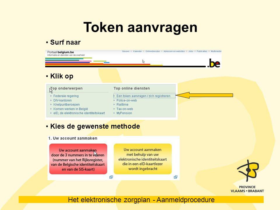Het elektronische zorgplan - Aanmeldprocedure Aanmelden www.e-zorgplan.be