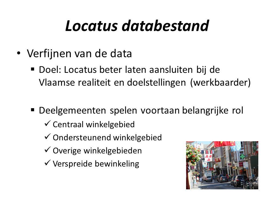 Locatus databestand Verfijnen van de data  Doel: Locatus beter laten aansluiten bij de Vlaamse realiteit en doelstellingen (werkbaarder)  Deelgemeenten spelen voortaan belangrijke rol Centraal winkelgebied Ondersteunend winkelgebied Overige winkelgebieden Verspreide bewinkeling