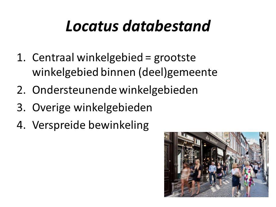 Locatus databestand 1.Centraal winkelgebied = grootste winkelgebied binnen (deel)gemeente 2.Ondersteunende winkelgebieden 3.Overige winkelgebieden 4.Verspreide bewinkeling