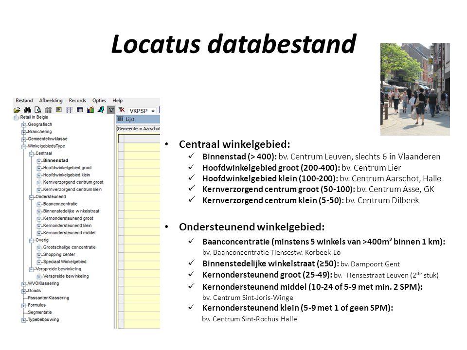 Locatus databestand Centraal winkelgebied: Binnenstad (> 400): bv.