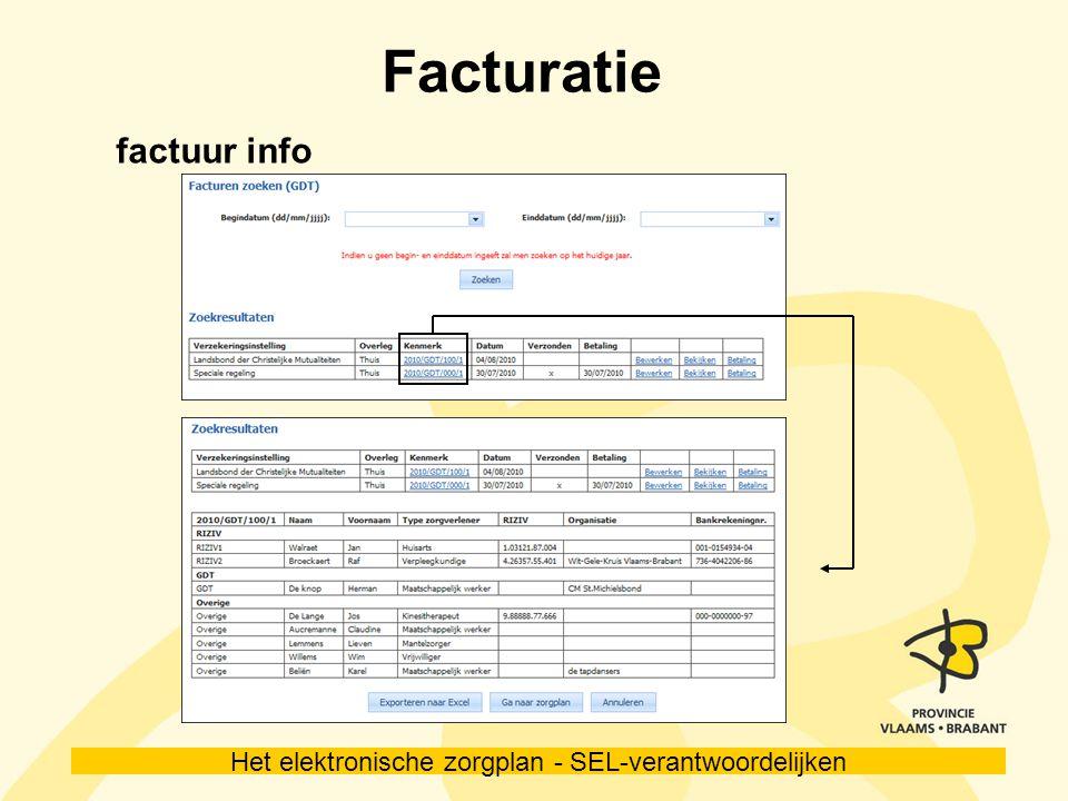 Het elektronische zorgplan - SEL-verantwoordelijken Facturatie factuur info