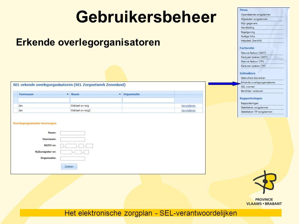 Het elektronische zorgplan - SEL-verantwoordelijken Gebruikersbeheer Erkende overlegorganisatoren