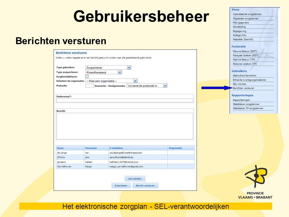 Het elektronische zorgplan - SEL-verantwoordelijken Gebruikersbeheer Berichten versturen