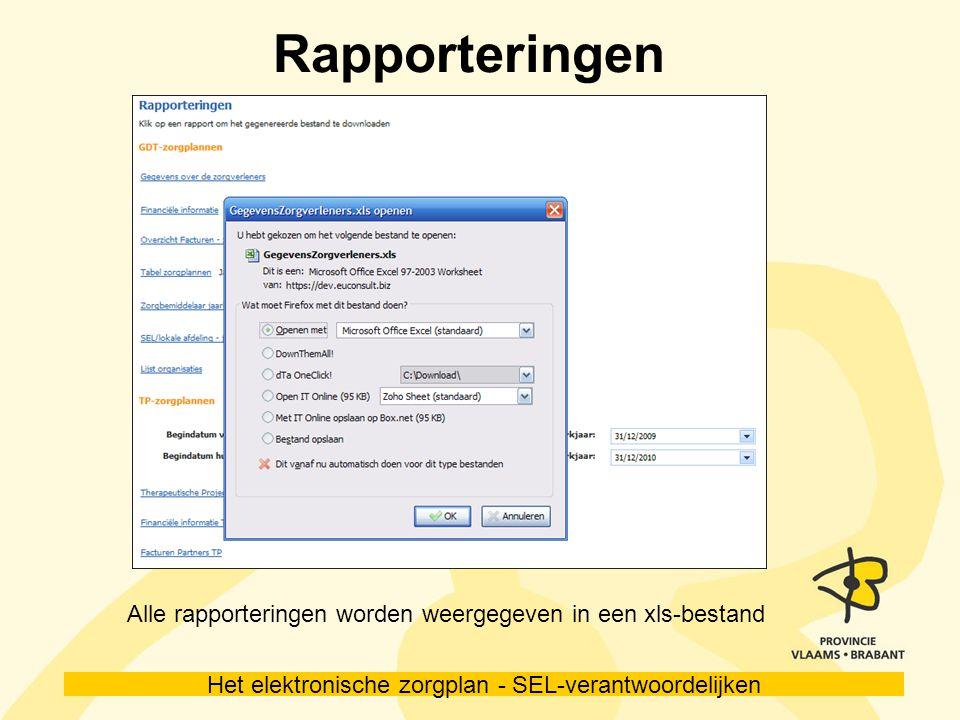 Het elektronische zorgplan - SEL-verantwoordelijken Rapporteringen Alle rapporteringen worden weergegeven in een xls-bestand