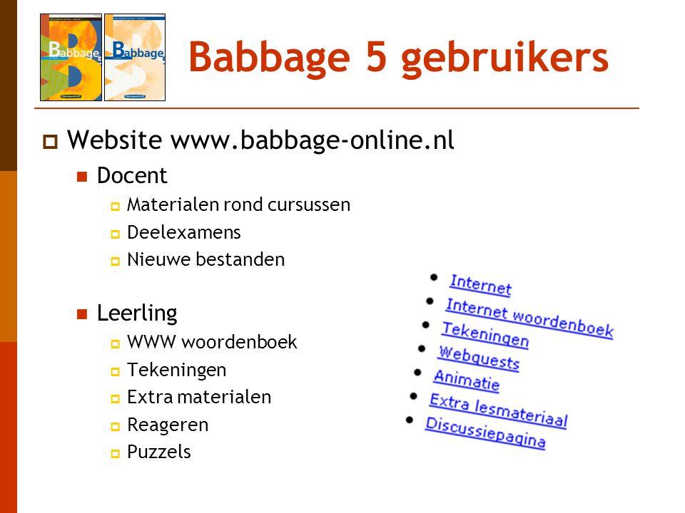 Babbage 5 gebruikers  Website www.babbage-online.nl Docent  Materialen rond cursussen  Deelexamens  Nieuwe bestanden Leerling  WWW woordenboek 