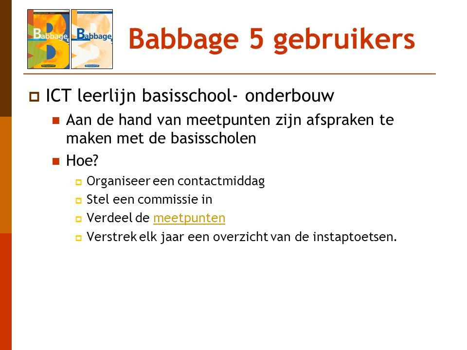Babbage 5 gebruikers  ICT leerlijn basisschool- onderbouw Aan de hand van meetpunten zijn afspraken te maken met de basisscholen Hoe?  Organiseer ee