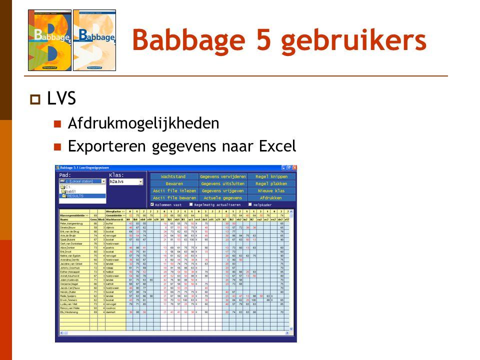 Babbage 5 gebruikers  LVS Afdrukmogelijkheden Exporteren gegevens naar Excel