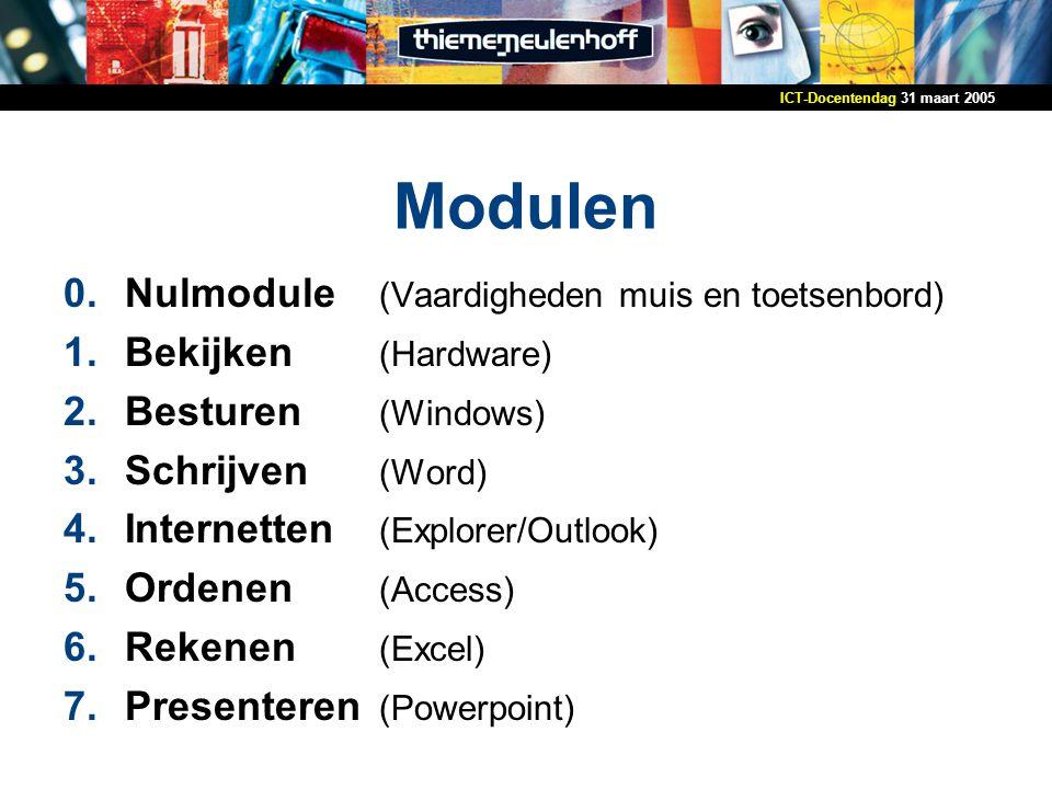 31 maart 2005ICT-Docentendag Modulen 0.Nulmodule (Vaardigheden muis en toetsenbord) 1.Bekijken (Hardware) 2.Besturen (Windows) 3.Schrijven (Word) 4.Internetten (Explorer/Outlook) 5.Ordenen (Access) 6.Rekenen (Excel) 7.Presenteren (Powerpoint)