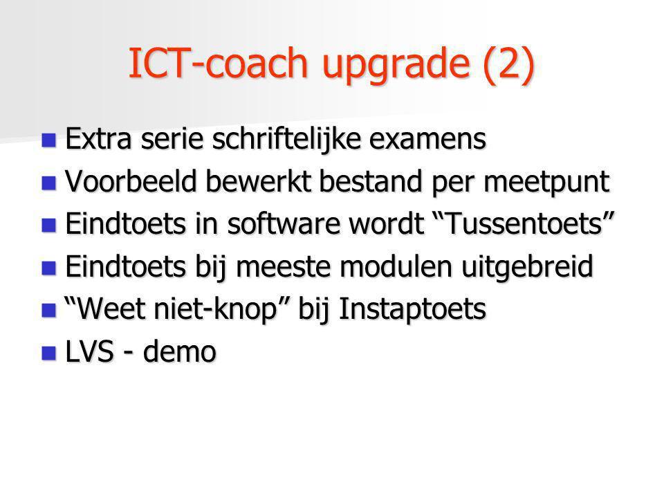 ICT-coach upgrade (2) Extra serie schriftelijke examens Extra serie schriftelijke examens Voorbeeld bewerkt bestand per meetpunt Voorbeeld bewerkt bes