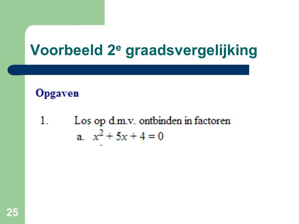 25 Voorbeeld 2 e graadsvergelijking