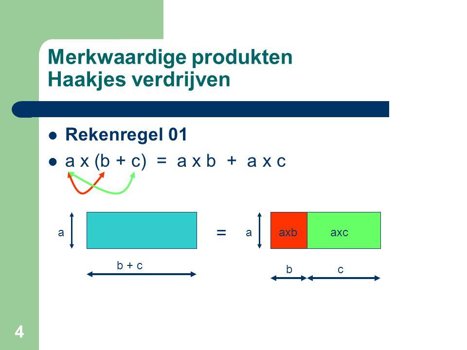 4 Merkwaardige produkten Haakjes verdrijven Rekenregel 01 a x (b + c) = a x b + a x c a b + c a bc = axbaxc