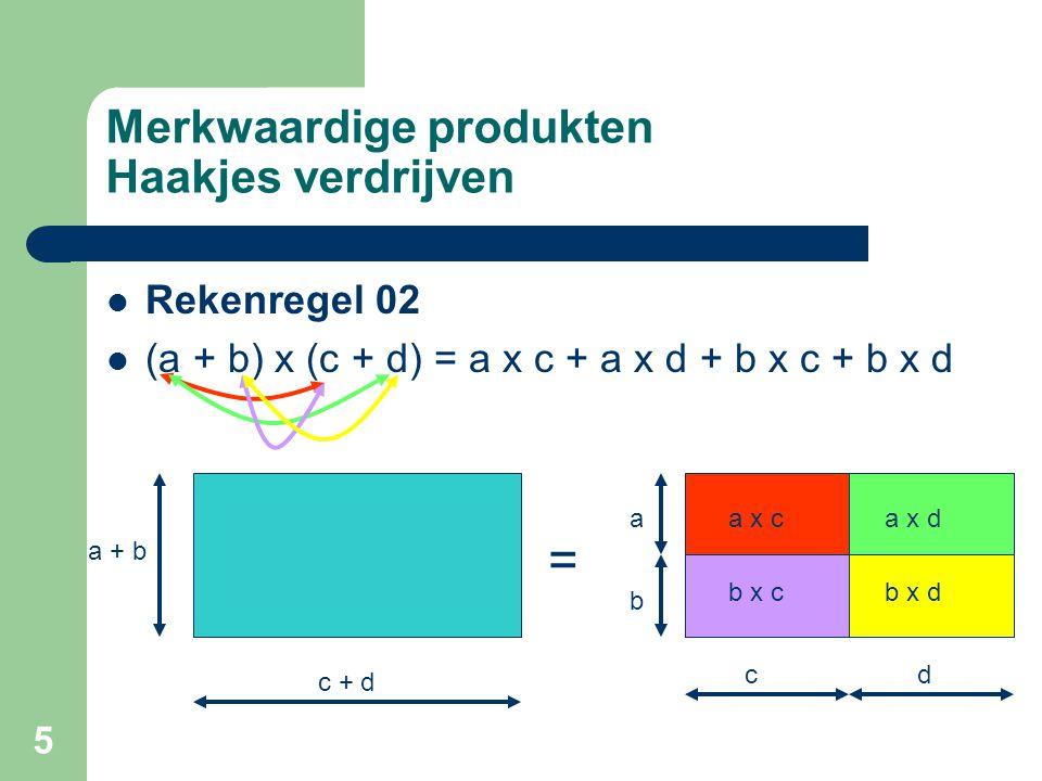 5 Merkwaardige produkten Haakjes verdrijven Rekenregel 02 (a + b) x (c + d) = a x c + a x d + b x c + b x d a + b c + d a x ca x d b x cb x d a b cd =