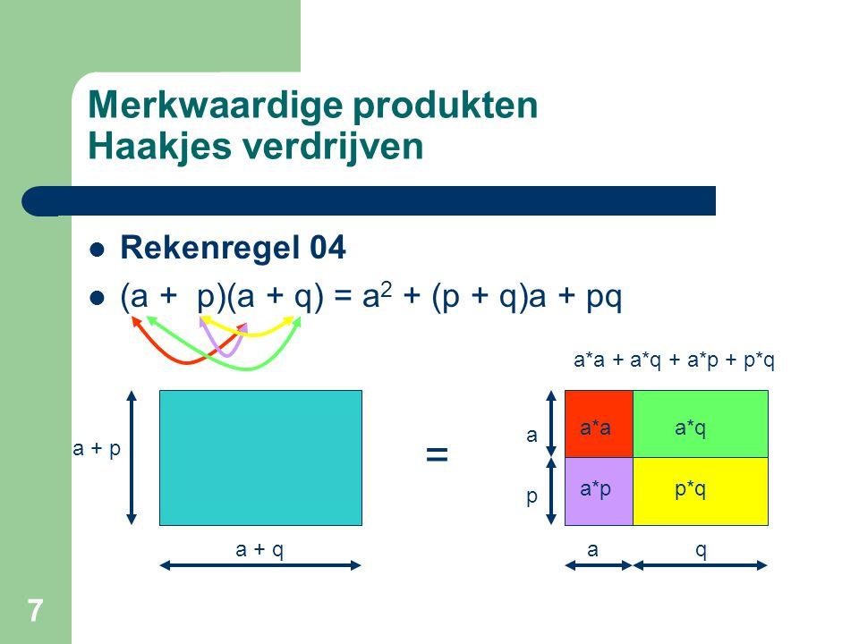 7 Merkwaardige produkten Haakjes verdrijven Rekenregel 04 (a + p)(a + q) = a 2 + (p + q)a + pq = a + p a + q a p aq a*a a*p a*q p*q a*a + a*q + a*p +