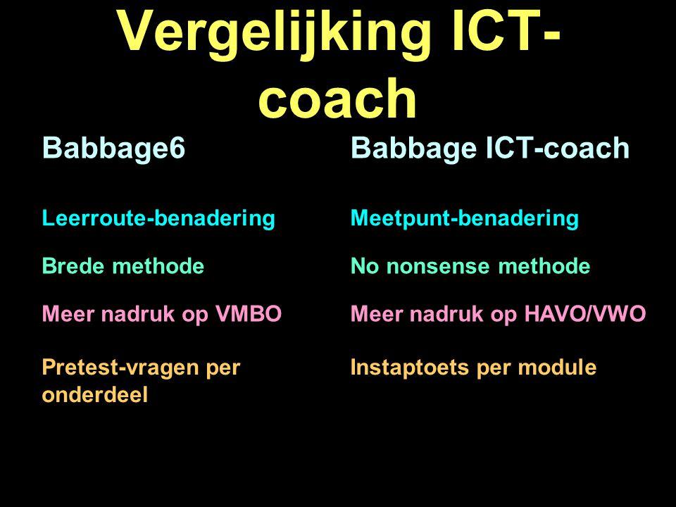 Vergelijking ICT- coach Babbage6Babbage ICT-coach Brede methodeNo nonsense methode Meer nadruk op VMBOMeer nadruk op HAVO/VWO Pretest-vragen per onderdeel Instaptoets per module Leerroute-benaderingMeetpunt-benadering