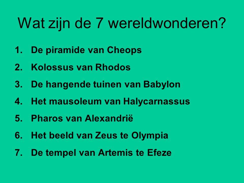 Wat zijn de 7 wereldwonderen.