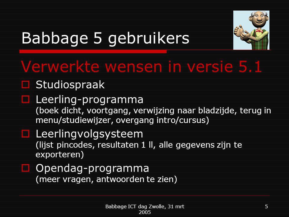 Babbage ICT dag Zwolle, 31 mrt 2005 5 Babbage 5 gebruikers Verwerkte wensen in versie 5.1  Studiospraak  Leerling-programma (boek dicht, voortgang, verwijzing naar bladzijde, terug in menu/studiewijzer, overgang intro/cursus)  Leerlingvolgsysteem (lijst pincodes, resultaten 1 ll, alle gegevens zijn te exporteren)  Opendag-programma (meer vragen, antwoorden te zien)