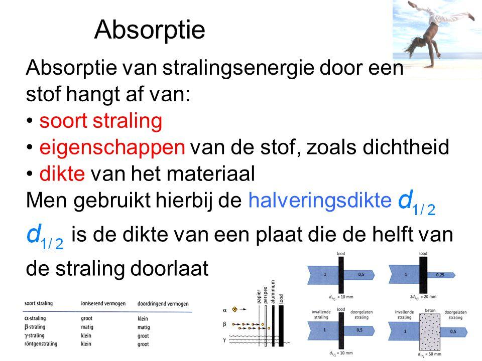 Absorptie stof hangt af van: soort straling eigenschappen van de stof, zoals dichtheid dikte van het materiaal Men gebruikt hierbij de halveringsdikte