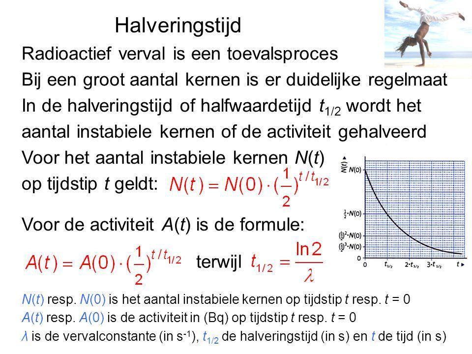 Stralingsdosis en effecten lichaam ontvangt is de dosis D E str is de geabsorbeerde energie in J m is de massa in kg D is de dosis in J/kg of Gy (gray) De schade in ons lichaam is ook afhankelijk van de soort straling, een betere maat is het dosisequivalent H Q is de weegfactor, zonder eenheid H is het dosisequivalent in Sv (sievert) Q=20 voor α-straling, Q=1 voor β-, γ- en röntgenstraling Een maat voor de ioniserende straling die ons