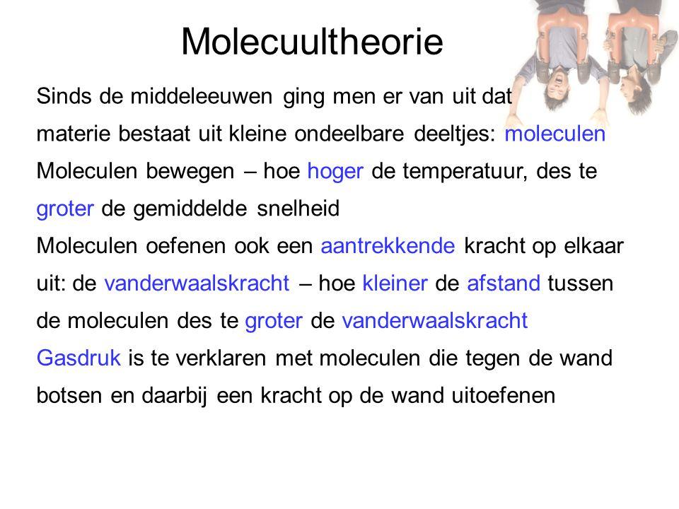 Molecuultheorie Sinds de middeleeuwen ging men er van uit dat materie bestaat uit kleine ondeelbare deeltjes: moleculen Gasdruk is te verklaren met mo