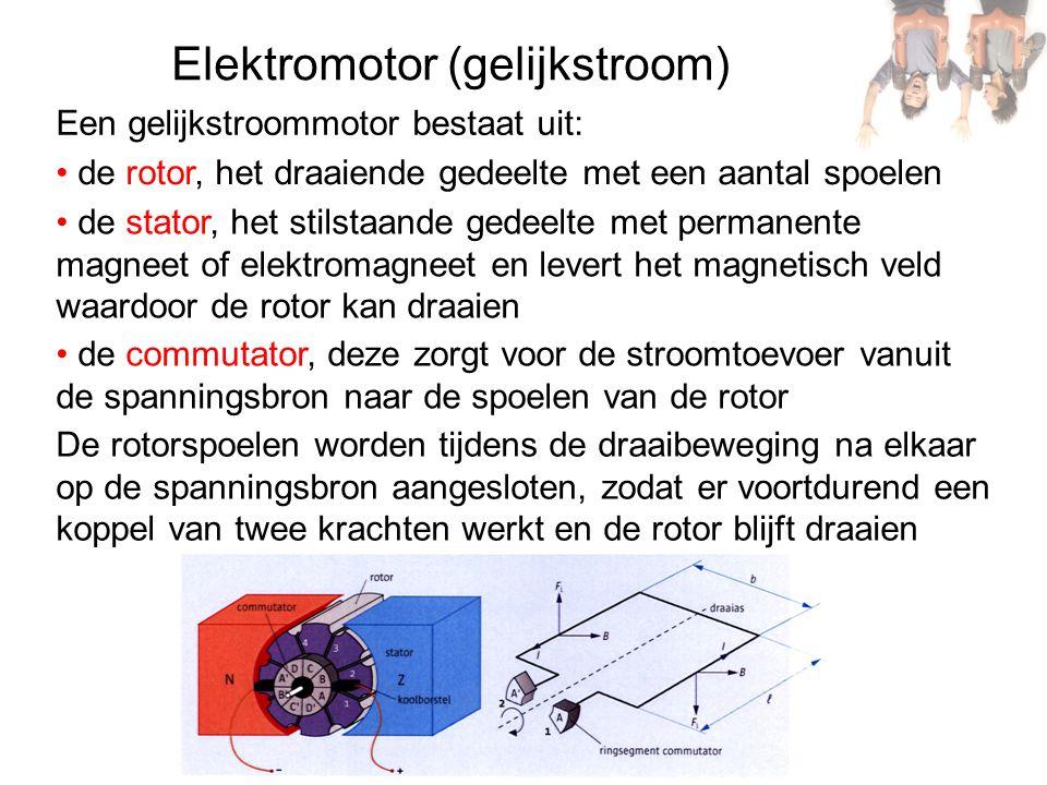 Elektromotor (gelijkstroom) Een gelijkstroommotor bestaat uit: de rotor, het draaiende gedeelte met een aantal spoelen de stator, het stilstaande gede