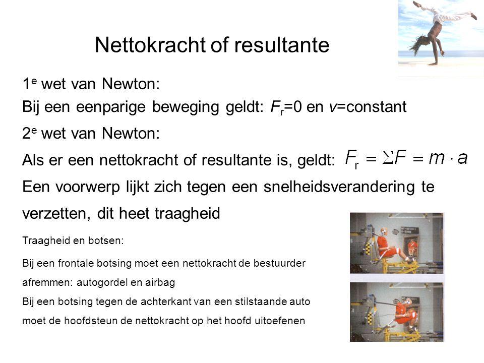 Nettokracht of resultante 1 e wet van Newton: Bij een eenparige beweging geldt: F r =0 en v=constant Als er een nettokracht of resultante is, geldt: 2