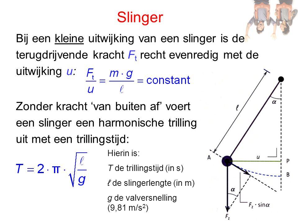 Slinger Bij een kleine uitwijking van een slinger is de terugdrijvende kracht F t recht evenredig met de uitwijking u: Zonder kracht 'van buiten af' voert een slinger een harmonische trilling uit met een trillingstijd: Hierin is: T de trillingstijd (in s) ℓ de slingerlengte (in m) g de valversnelling (9,81 m/s 2 )