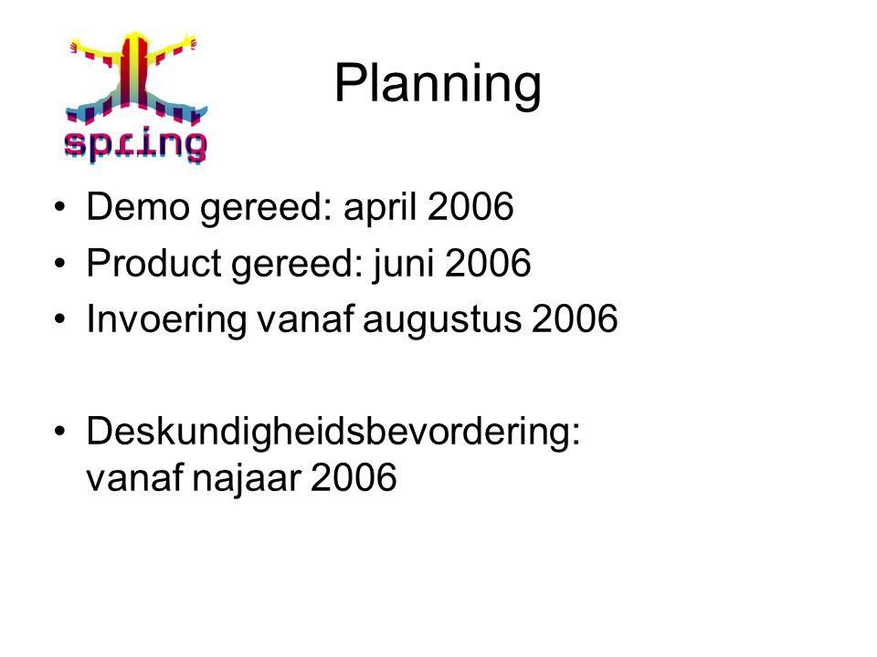 Planning Demo gereed: april 2006 Product gereed: juni 2006 Invoering vanaf augustus 2006 Deskundigheidsbevordering: vanaf najaar 2006
