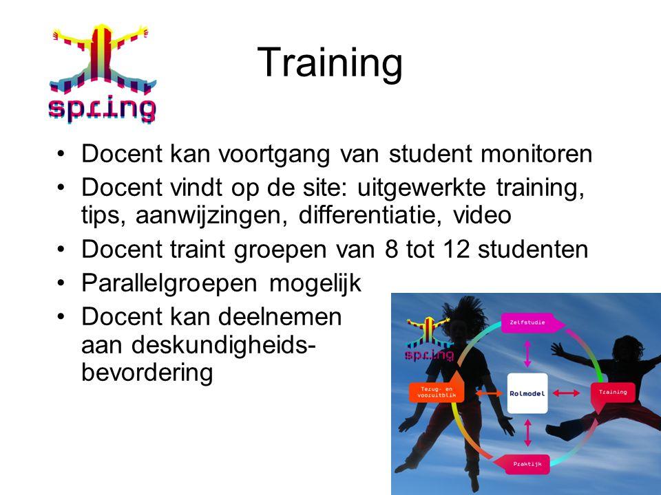 Training Docent kan voortgang van student monitoren Docent vindt op de site: uitgewerkte training, tips, aanwijzingen, differentiatie, video Docent tr