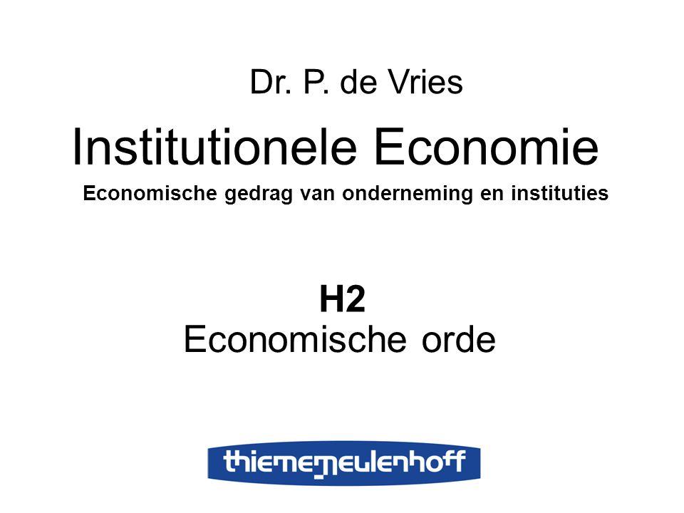 H2 Economische orde Institutionele Economie Economische gedrag van onderneming en instituties Dr. P. de Vries