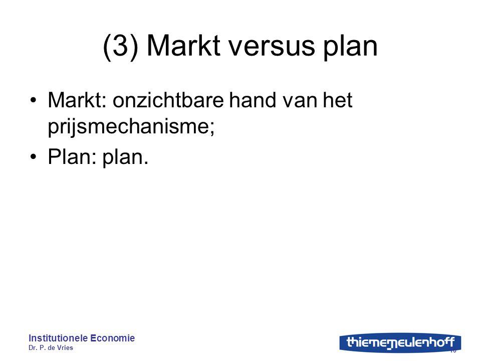 Institutionele Economie Dr. P. de Vries 10 (3) Markt versus plan Markt: onzichtbare hand van het prijsmechanisme; Plan: plan.