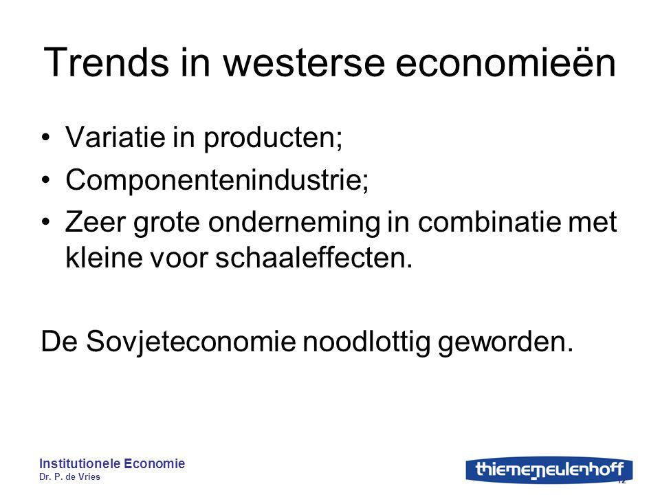 Institutionele Economie Dr. P. de Vries 12 Trends in westerse economieën Variatie in producten; Componentenindustrie; Zeer grote onderneming in combin