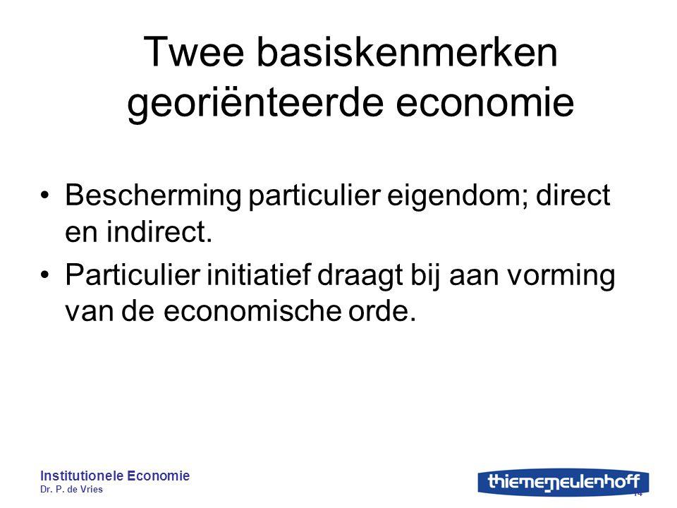 Institutionele Economie Dr. P. de Vries 14 Twee basiskenmerken georiënteerde economie Bescherming particulier eigendom; direct en indirect. Particulie