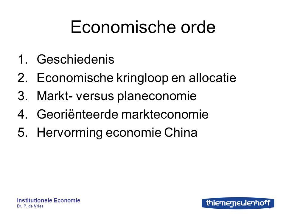 Institutionele Economie Dr. P. de Vries 2 Economische orde 1.Geschiedenis 2.Economische kringloop en allocatie 3.Markt- versus planeconomie 4.Georiënt