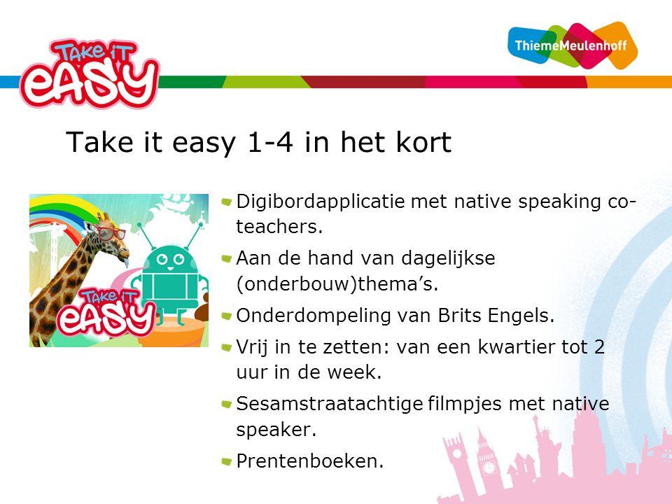 Take it easy 1-4 in het kort Digibordapplicatie met native speaking co- teachers.