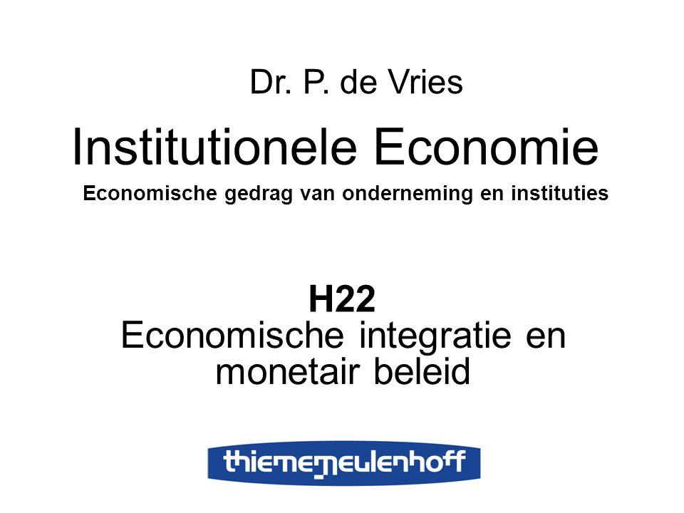 H22 Economische integratie en monetair beleid Institutionele Economie Economische gedrag van onderneming en instituties Dr. P. de Vries