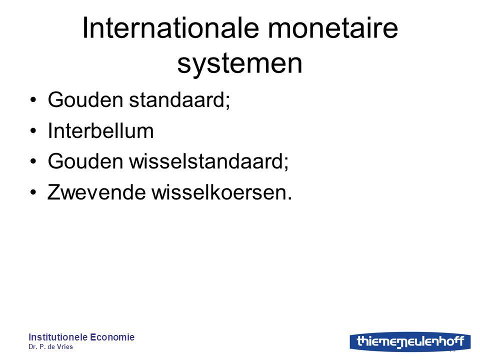 Institutionele Economie Dr. P. de Vries 11 Internationale monetaire systemen Gouden standaard; Interbellum Gouden wisselstandaard; Zwevende wisselkoer