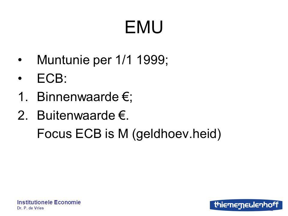 Institutionele Economie Dr. P. de Vries 12 EMU Muntunie per 1/1 1999; ECB: 1.Binnenwaarde €; 2.Buitenwaarde €. Focus ECB is M (geldhoev.heid)
