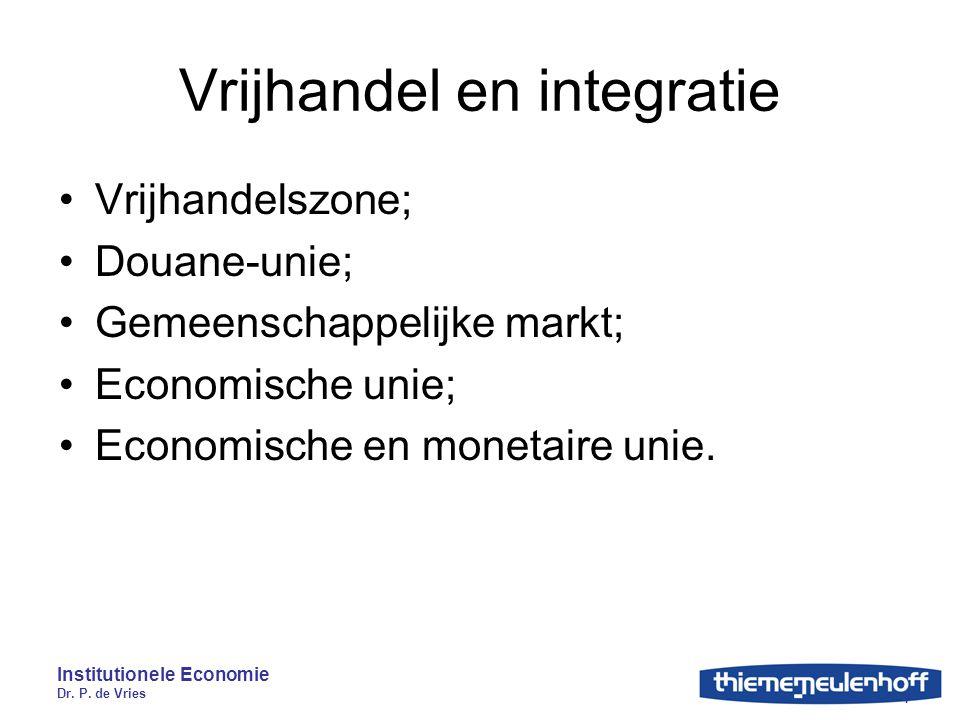 Institutionele Economie Dr. P. de Vries 7 Vrijhandel en integratie Vrijhandelszone; Douane-unie; Gemeenschappelijke markt; Economische unie; Economisc