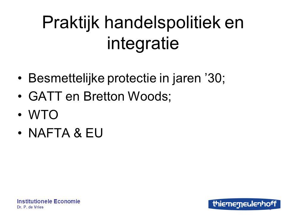 Institutionele Economie Dr. P. de Vries 8 Praktijk handelspolitiek en integratie Besmettelijke protectie in jaren '30; GATT en Bretton Woods; WTO NAFT