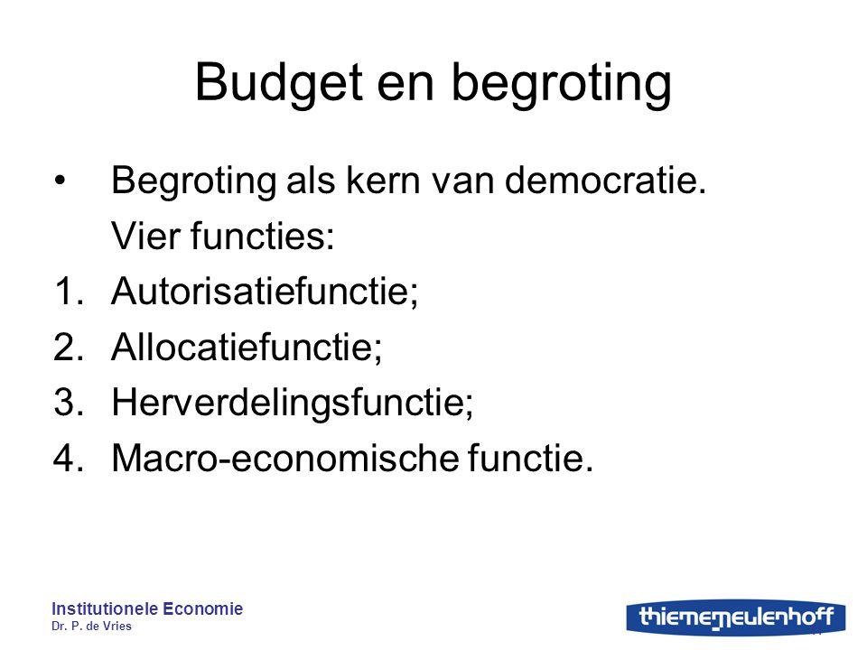 Institutionele Economie Dr. P. de Vries 11 Budget en begroting Begroting als kern van democratie. Vier functies: 1.Autorisatiefunctie; 2.Allocatiefunc