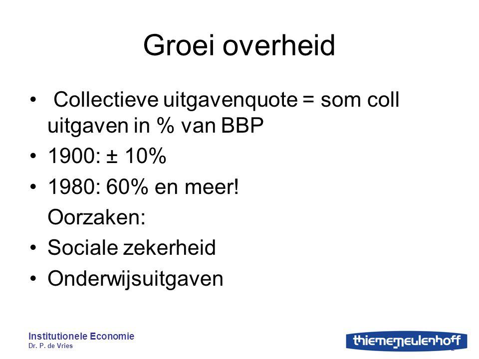 Institutionele Economie Dr. P. de Vries 2 Groei overheid Collectieve uitgavenquote = som coll uitgaven in % van BBP 1900: ± 10% 1980: 60% en meer! Oor