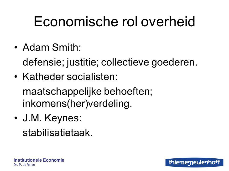 Institutionele Economie Dr. P. de Vries 6 Economische rol overheid Adam Smith: defensie; justitie; collectieve goederen. Katheder socialisten: maatsch