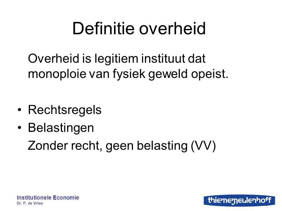 Institutionele Economie Dr. P. de Vries 8 Definitie overheid Overheid is legitiem instituut dat monoploie van fysiek geweld opeist. Rechtsregels Belas