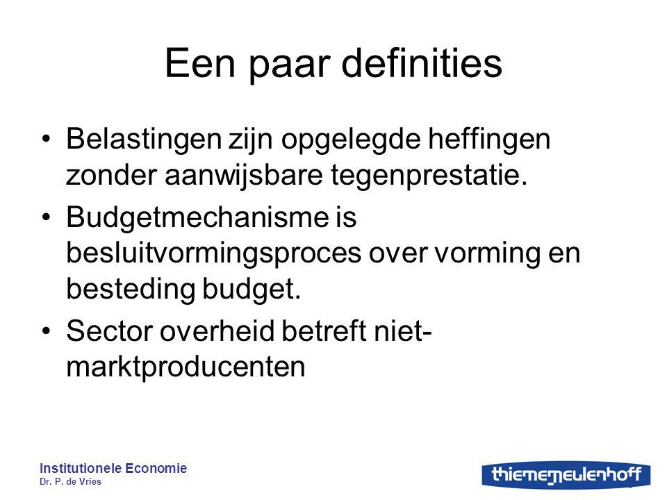 Institutionele Economie Dr. P. de Vries 9 Een paar definities Belastingen zijn opgelegde heffingen zonder aanwijsbare tegenprestatie. Budgetmechanisme