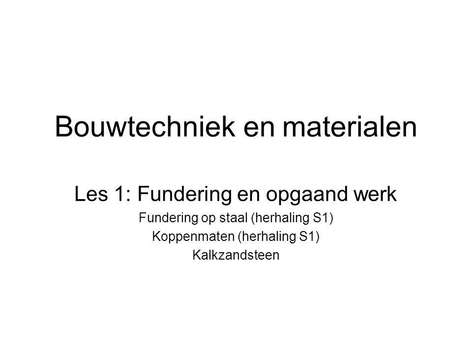 Bouwtechniek en materialen Les 1: Fundering en opgaand werk Fundering op staal (herhaling S1) Koppenmaten (herhaling S1) Kalkzandsteen