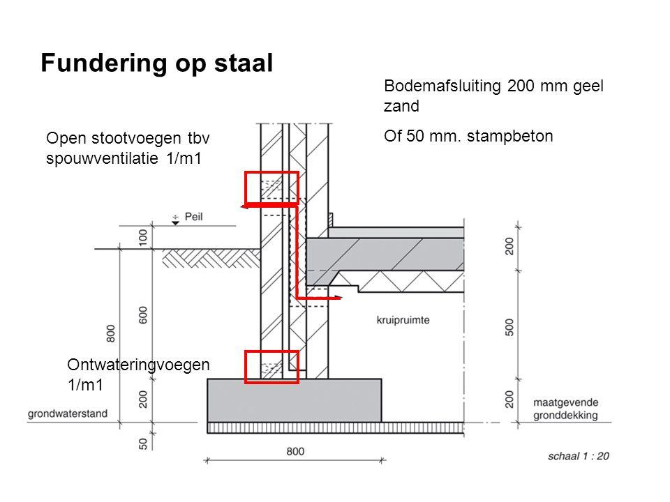 Fundering op staal Open stootvoegen tbv spouwventilatie 1/m1 Ontwateringvoegen 1/m1 Bodemafsluiting 200 mm geel zand Of 50 mm.