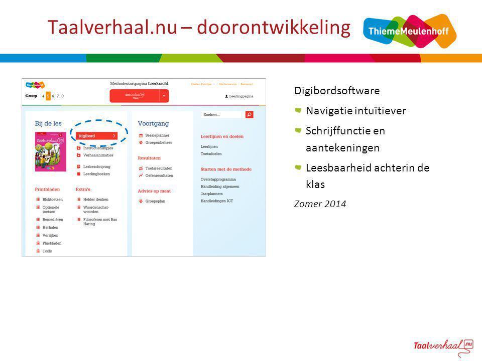 Taalverhaal.nu – doorontwikkeling Digibordsoftware Navigatie intuïtiever Schrijffunctie en aantekeningen Leesbaarheid achterin de klas Zomer 2014
